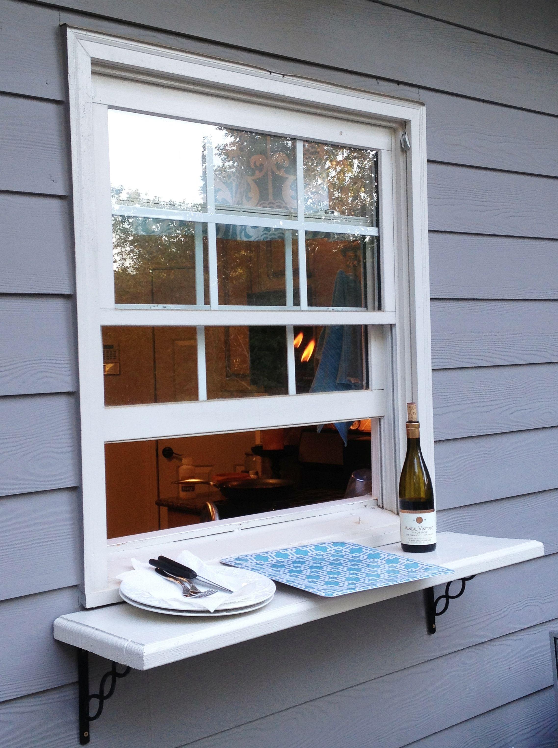 Kitchen servery window ideas  deck window shelf easy pass thru to the outside from kitchen