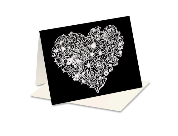 Note card heart card floral card papercut art print folded items similar to note card heart card floral card papercut art print folded card blank greeting card anniversary card papercut card on etsy m4hsunfo