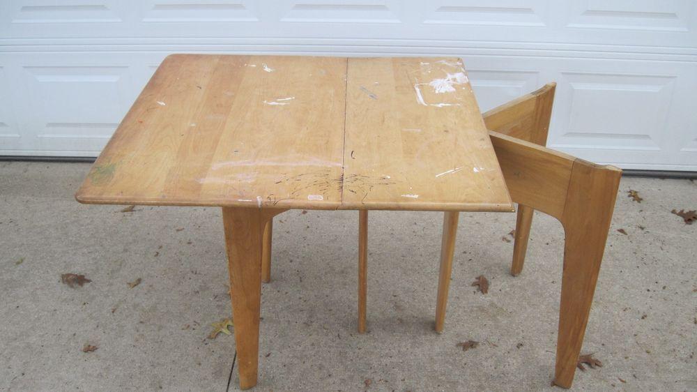 Vintage Mid Century Blonde Heywood Wakefield Drop Leaf Table