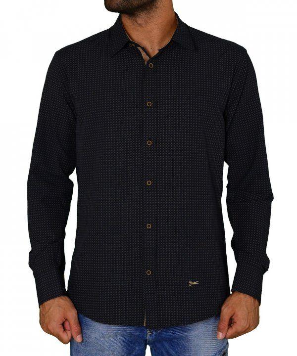 Ανδρικό πουκάμισο υφασμάτινο μπλε σκούρο με μικροσχέδια Ben Tailor 200217   ανδρικάπουκάμισα  ρούχα  στυλ 98a74a419a3