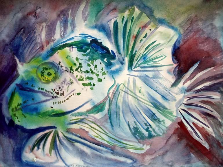 Original Fish Painting By Maria Medvedeva Art Deco Art On Paper