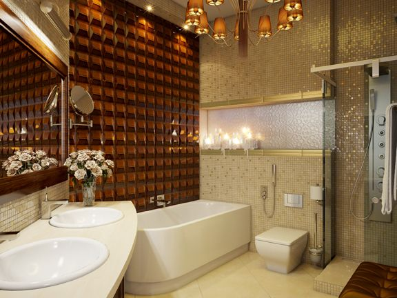 valley tile in amber  bathroom wall installation