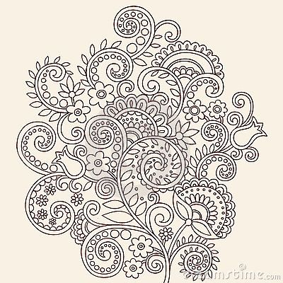 Henna Mehndi Paisley Doodle Vines And Flowers | zentangle patterns ...