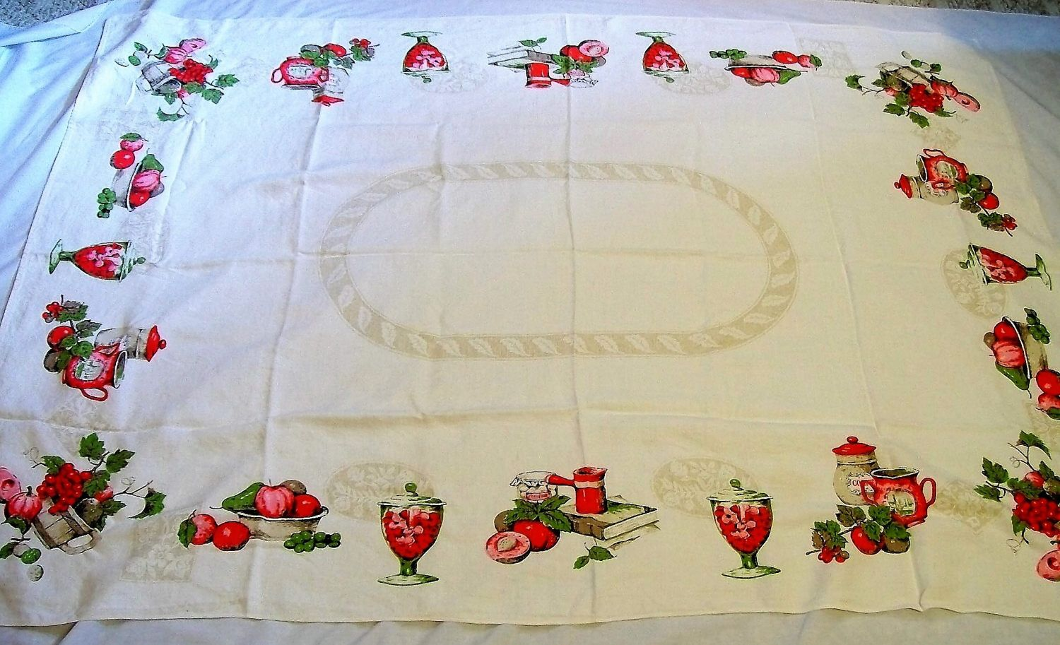 Vintage Tablecloth, large tablecloth, vintage kitchen, tablecloth ...