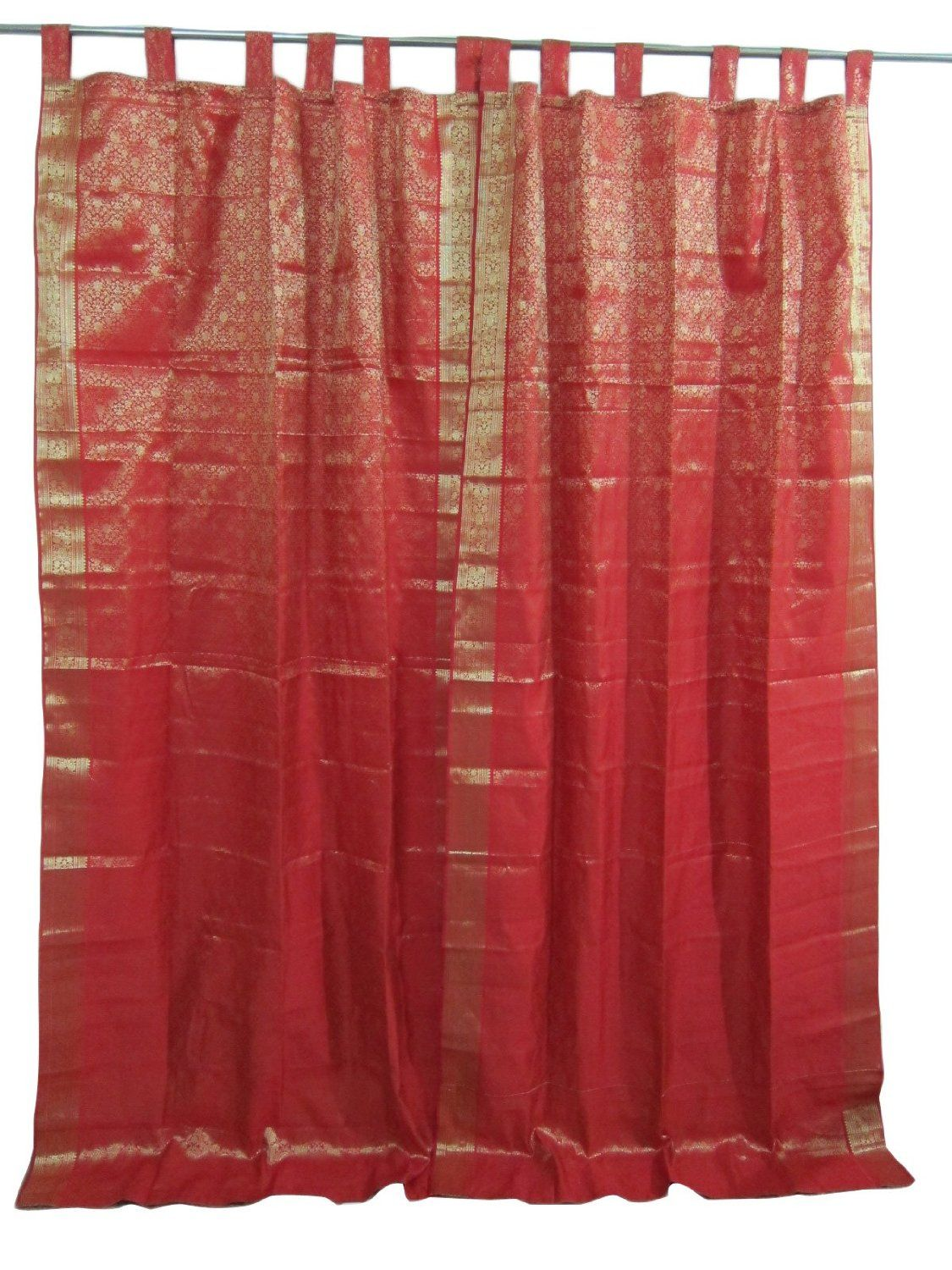 Tab Top Curtains Amazon Amazon 2 Red Gold India Curtains Brocade Silk Sari Drapes