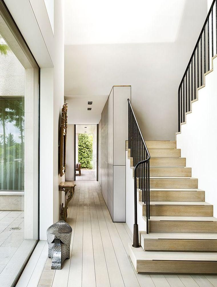 Escalier design interieur bois moderne garde corps escalier fer forge