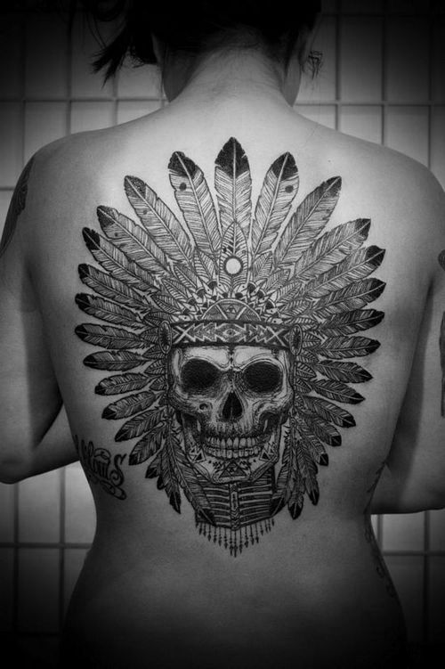 fec647303 100 Awesome Back Tattoo Ideas | Tattoos | Indian skull tattoos, Hawk ...