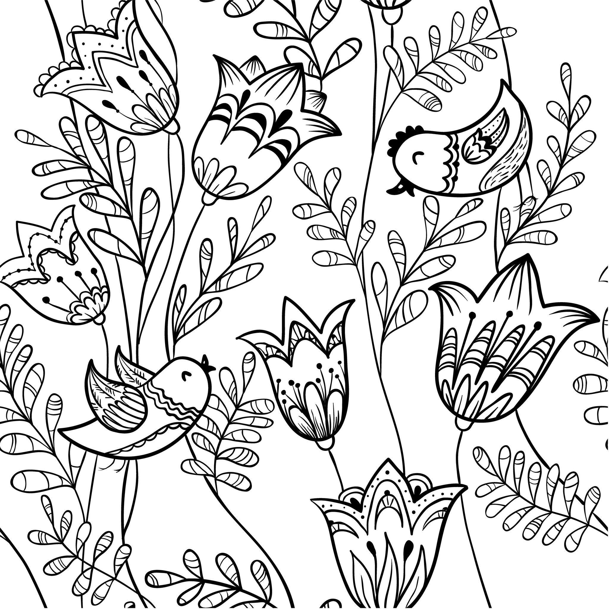 Coloriage de fleurs de printemps Oiseau et clochette