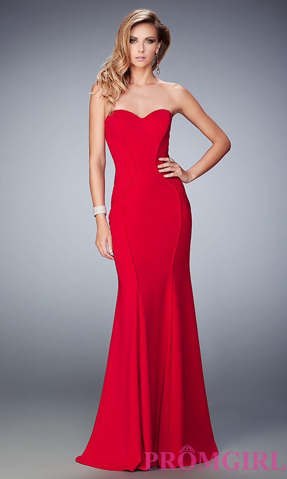 Classic La Femme Long Strapless Sweetheart Prom Dress Style: LF ...