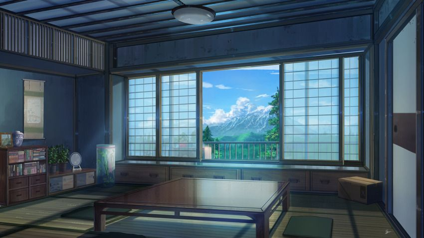 Anime Picture Search Engine Air Conditioner Architecture Book Box Cabinet Clouds Cushion East Asian Archite In 2021 House And Home Magazine Anime Room Woman Bedroom Anime living room background morning