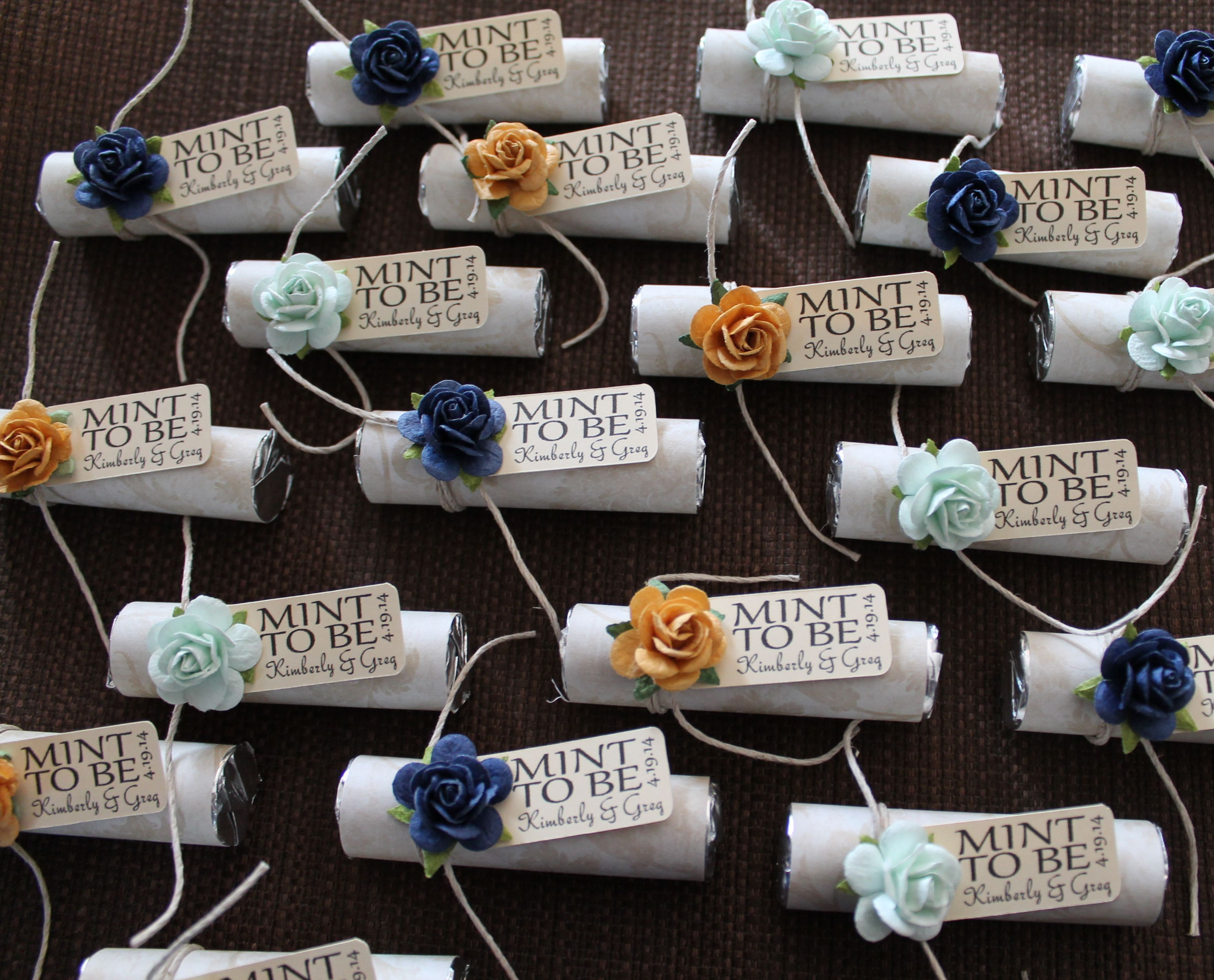 Items Similar To Mint Wedding Favors With Personalized Be Tag Set Of 24 Navy Gold Green And Custom On