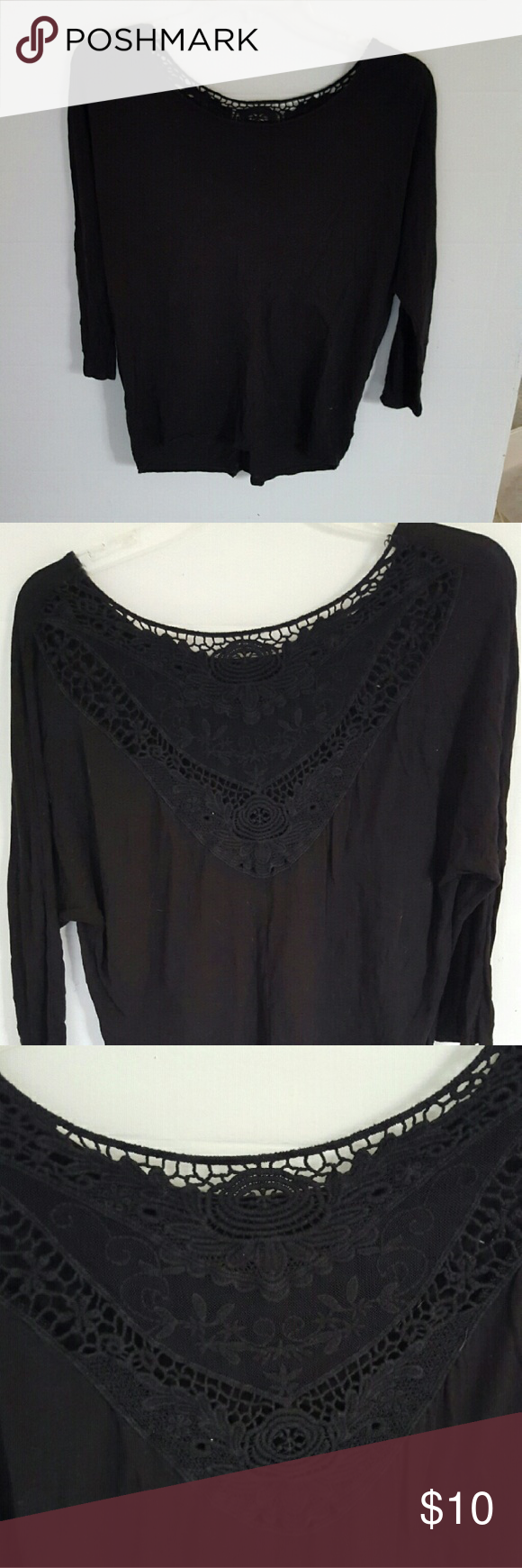 Black shirt Black, three quarter length, flowy top from American Eagle. Super cute on. Great for tucking into a skirt! From a smoke free home! American Eagle Outfitters Tops Blouses