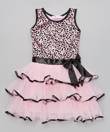 This Pink Cheetah Sequin Tiered Dress - Infant, Toddler & Girls by Popatu by Posh is perfect! #zulilyfinds
