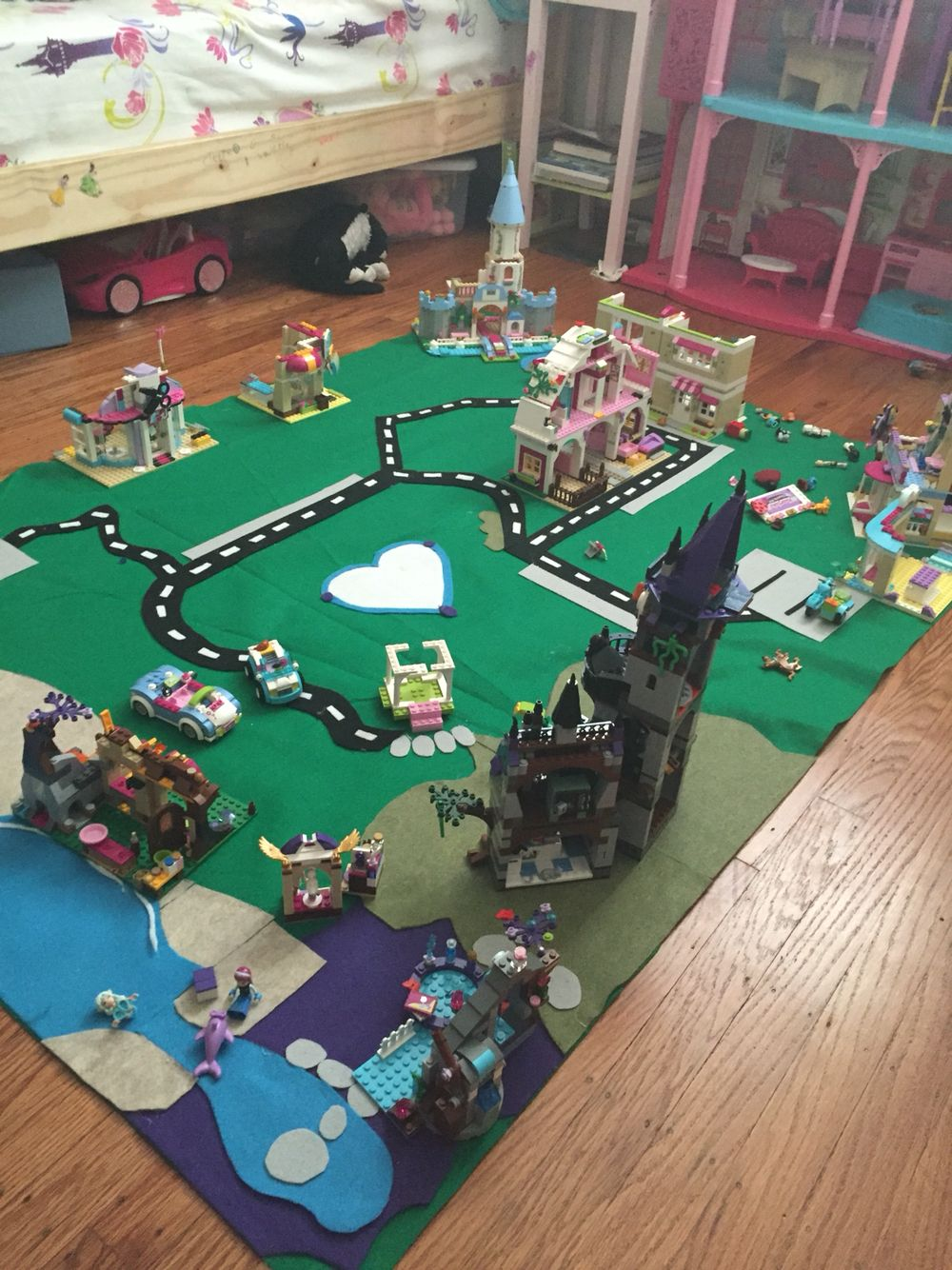 Val's Lego play mat! Made with felt and hot glue gun :)