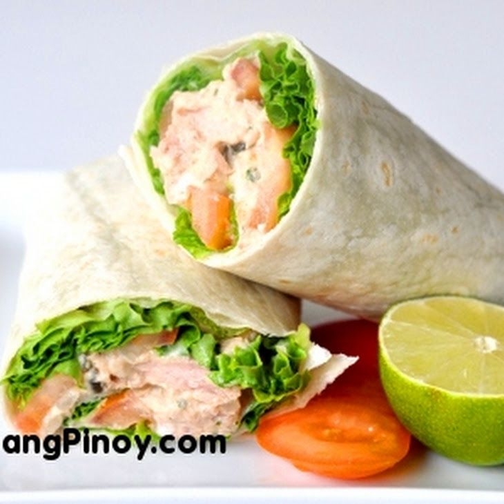 Tuna Salad Wrap Recipe Lunch and Snacks with salad, tomatoes, leaf lettuce, shredded cheddar cheese, tortilla wraps