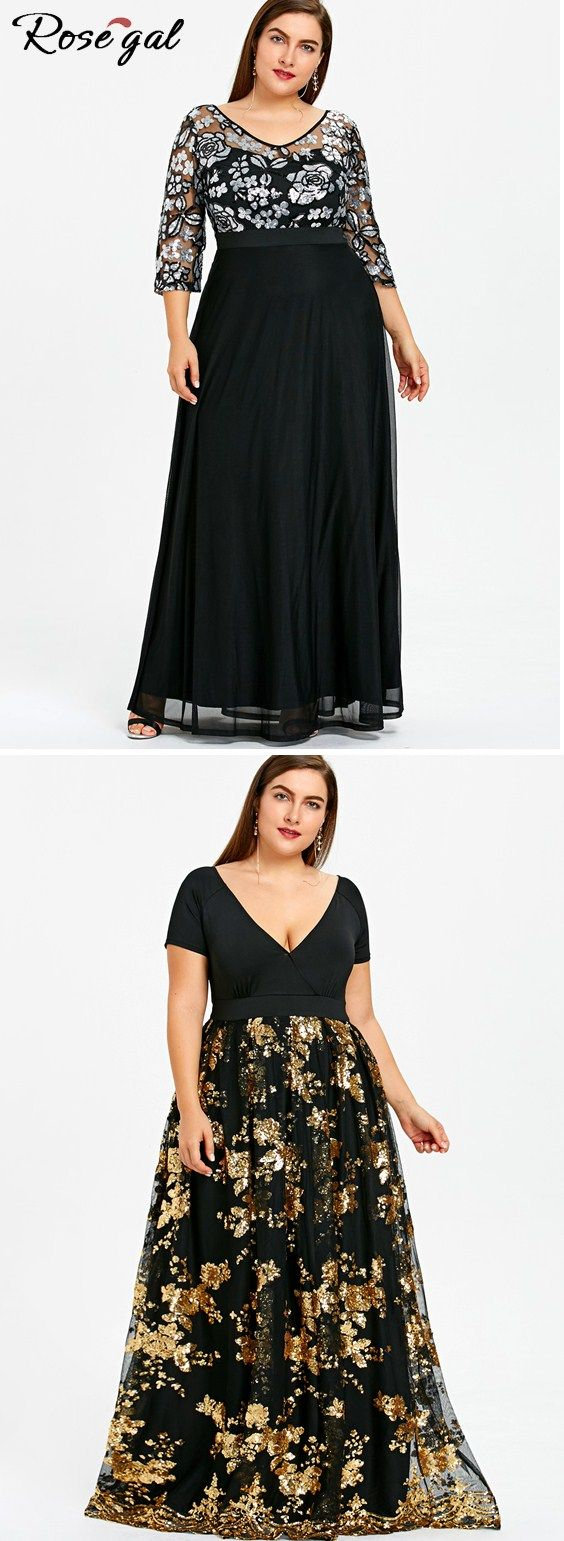 27db9bb2b5a Free shipping worldwide.Plus Size Floral Sequined Maxi Prom Dress ...