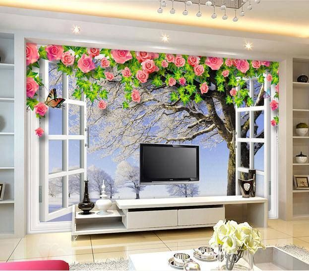 Open Window Wallpaper And Lcd Tv Cabinet Design Id858 Lcd