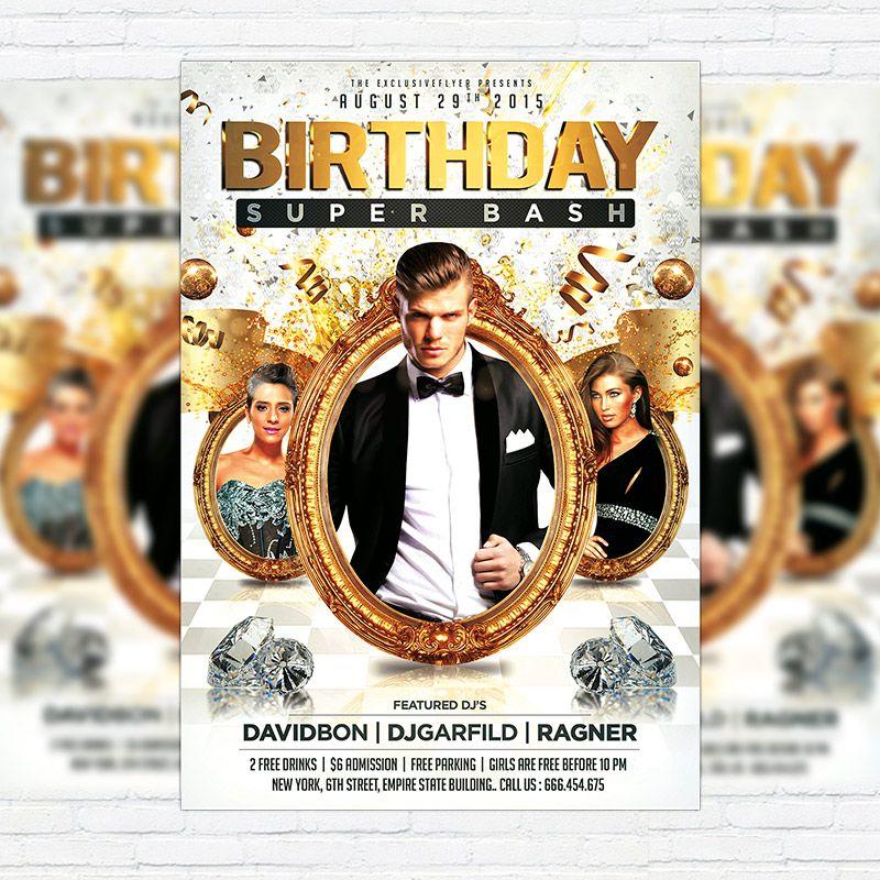 Birthday Super Bash - Premium Flyer Template + Facebook Cover http - birthday flyer template