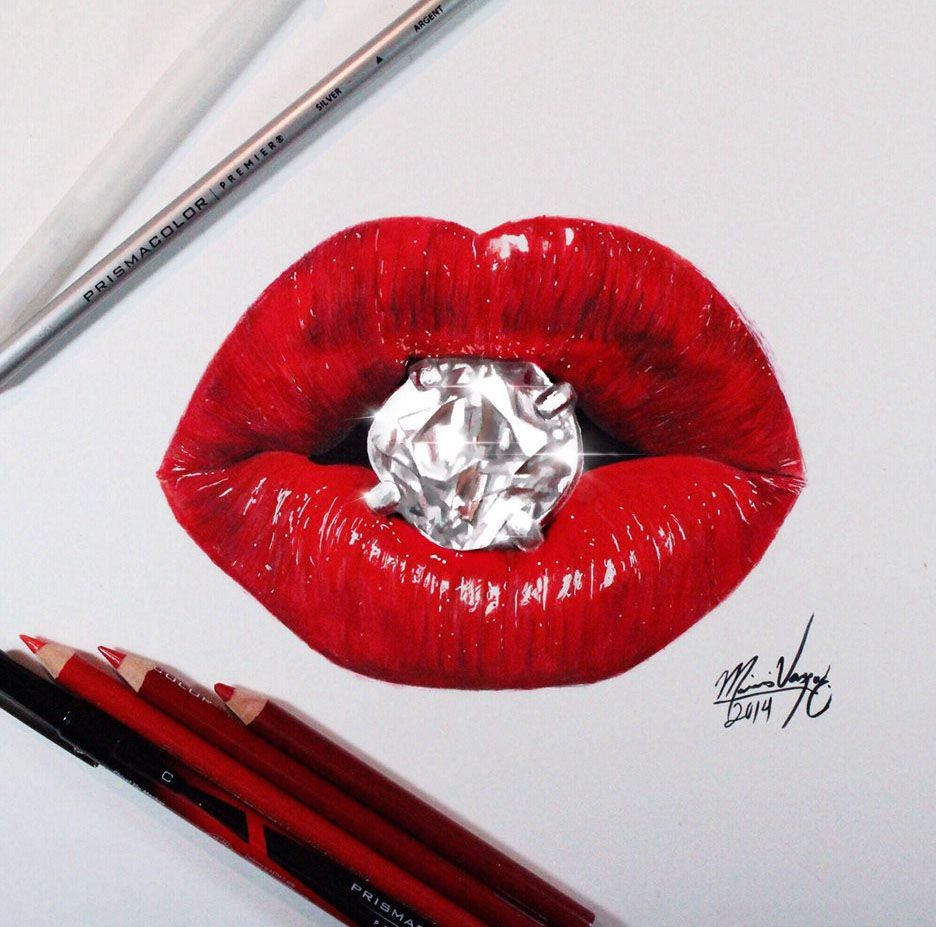 Realistic Lips Color Pencil Drawing Read Full Article Http