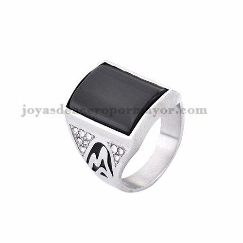 anillo de serie escuela piedra negra en acero plateado inoxidable - SSRGG371824
