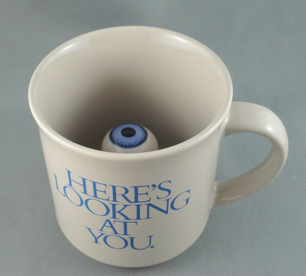c690d82782d Coffee Mug Here's Looking At You Eyeball Interior Surprise Treasure ...