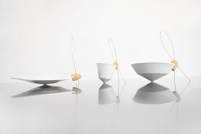 tilt tableware by dor tal turns eating into a balancing act - designboom   architecture