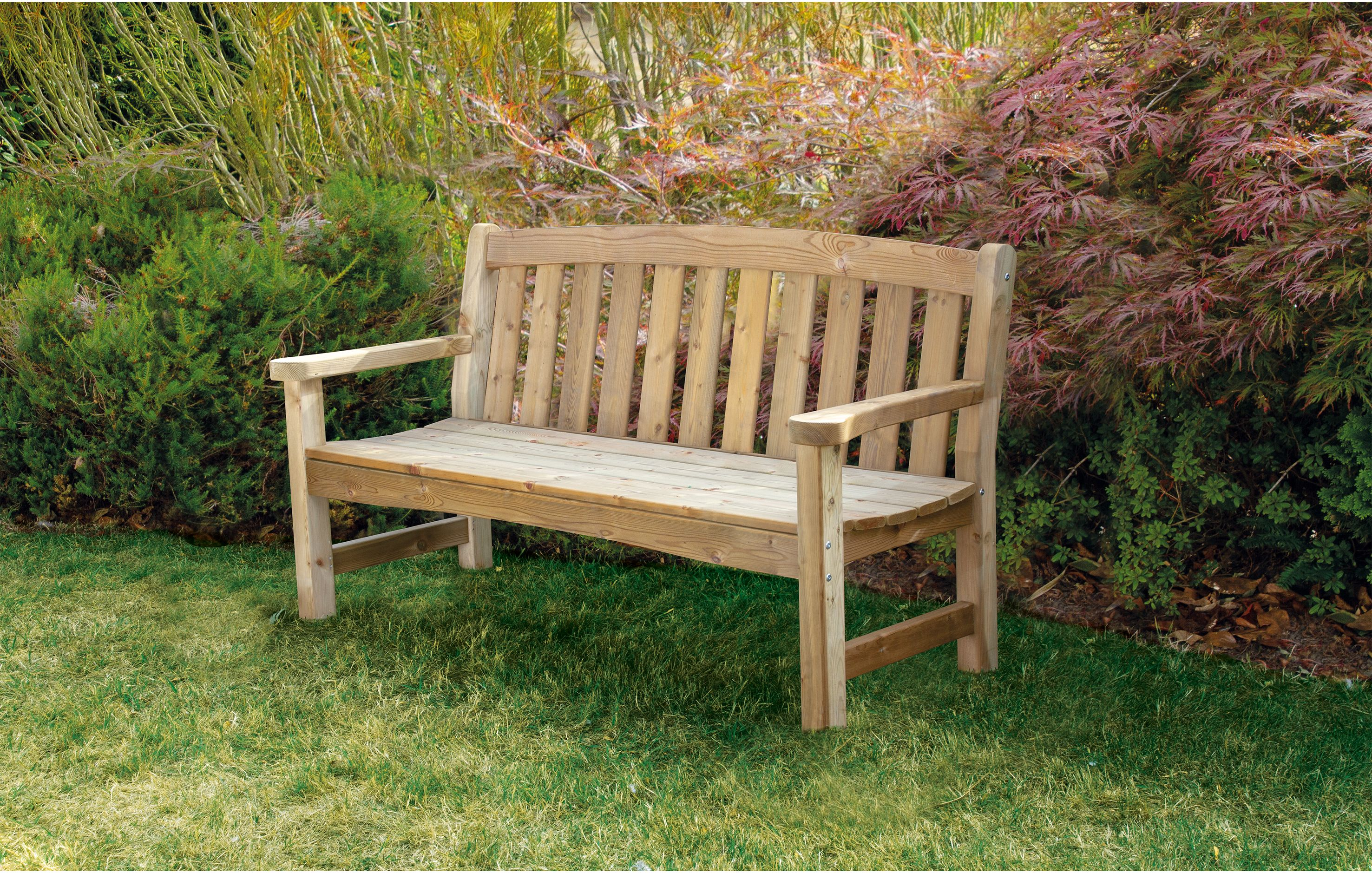 Woodshaw Emsworth 3 Seater Bench Small Garden Bench Wooden