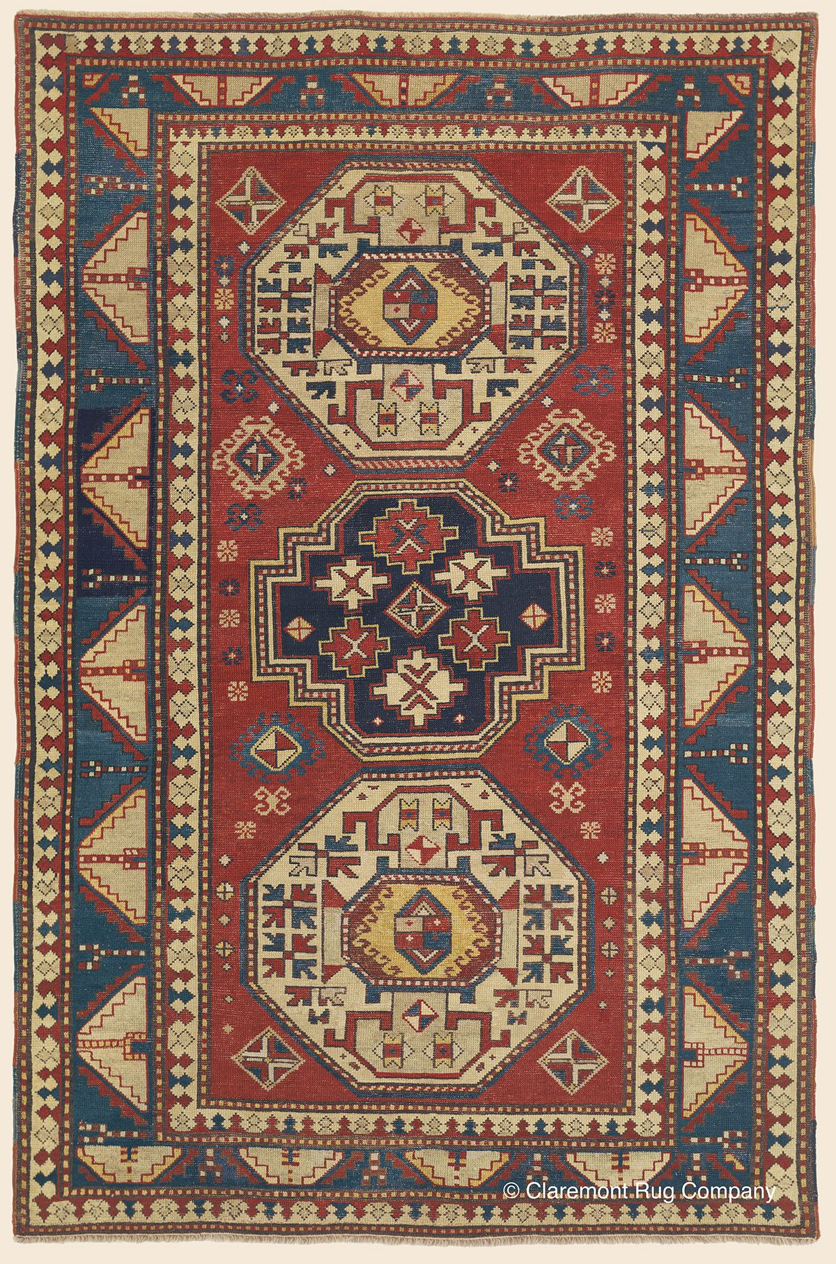 Triple Medallion Kazak Southern Central Caucasia Antique Rug 4 8 X 7 0 Circa 1850 Claremont Rug Company Rugs Persian Carpet Tribal Rug