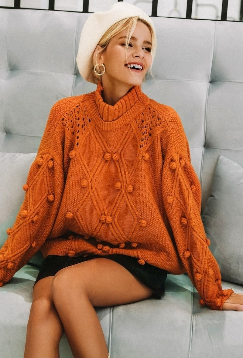 49e0220cf0 ... BUY this gorgeous sweater  ) New ginger orange chunky cable knit  turtleneck oversized pullover knitted jumper warm sweater for women thick  orange winter ...