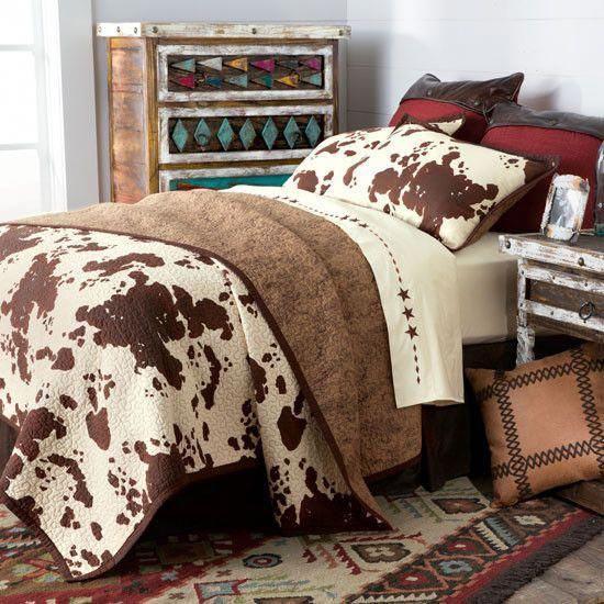 Best Hiend Elsa Western Cowprint Quilted Bedding Set In 2020 400 x 300
