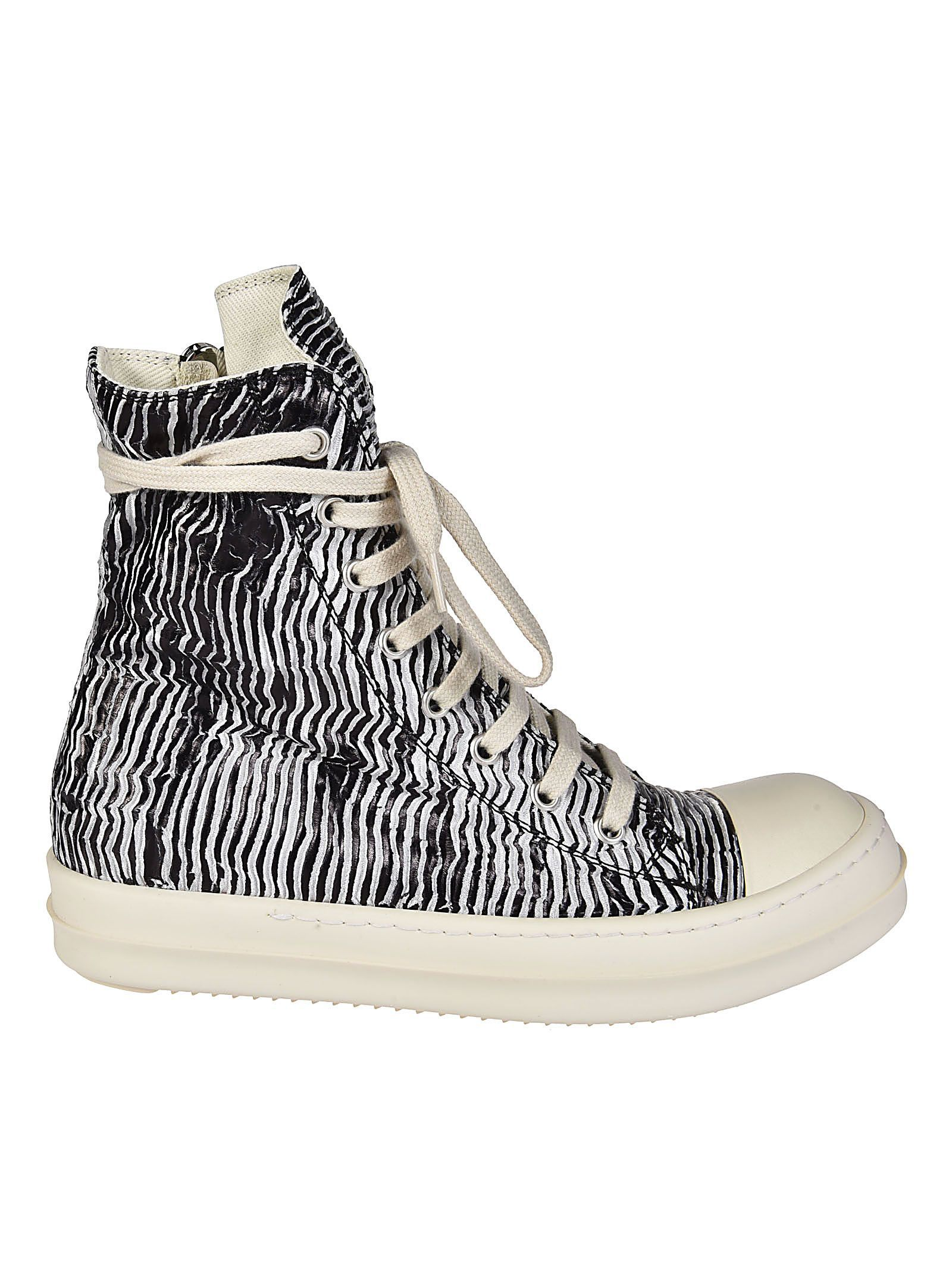 Rick Owens Metallic Zip Hi Top Sneakers Outlet Online Shop MNMGM