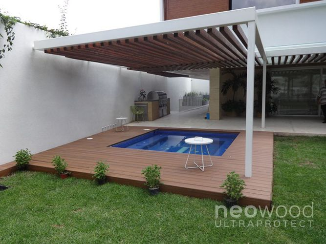Photo Terrasse bois composite contemporain spa piscine Spa