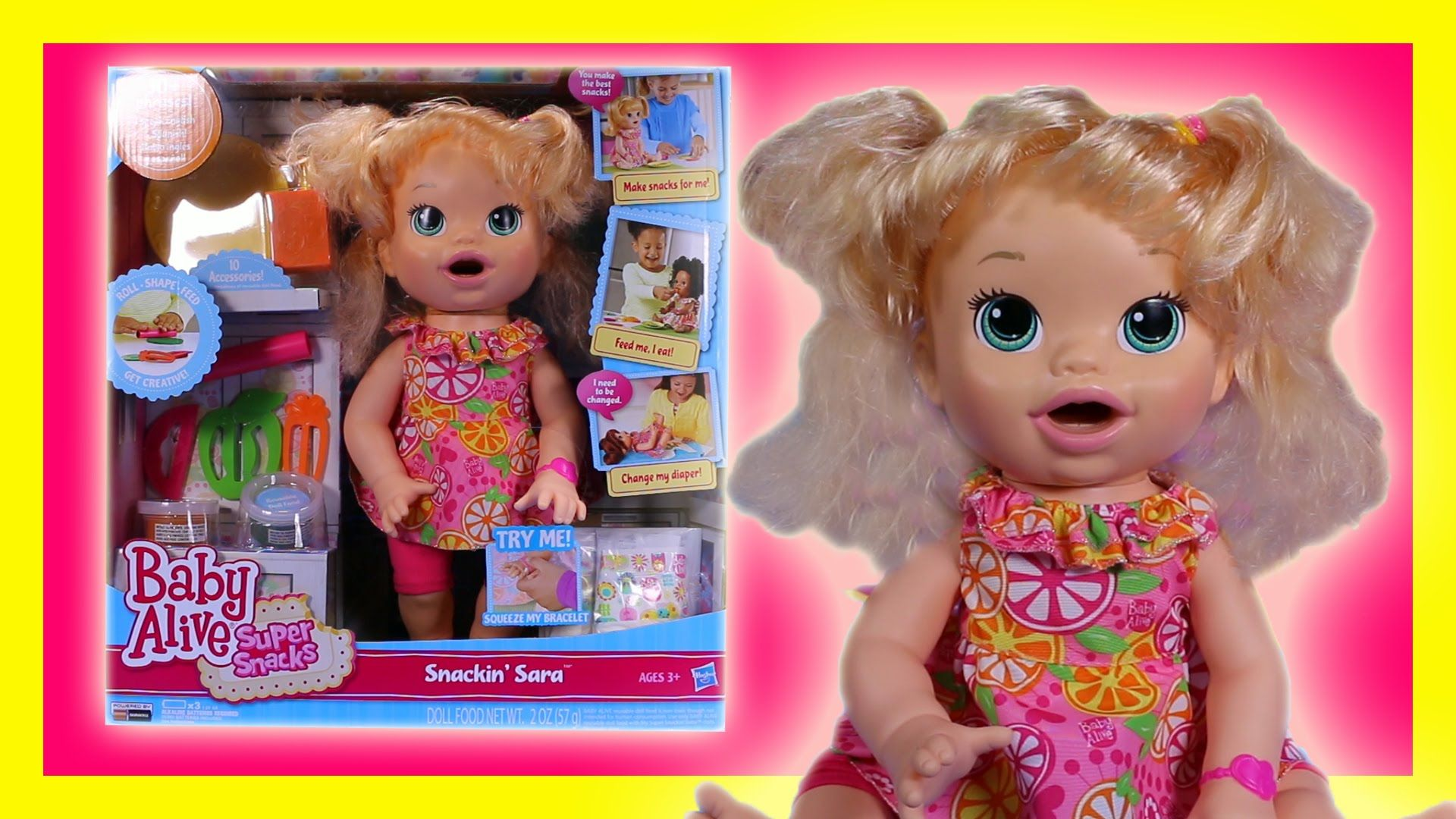 Does Baby Alive Really Eat Play Doh Super Snacks Snackin Sara Doll Toy Review Baby Alive Doll Toys Custom Baby
