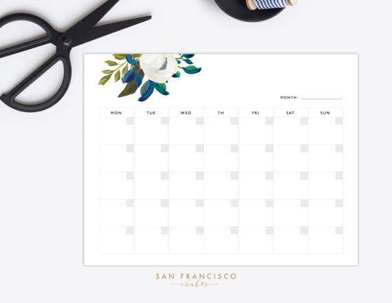Printable Blank Monthly Calendar LetterSized Floral  Note