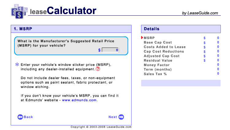 Calculate Car Leasing Payments And Total Costs Leaseguide Com Car Lease Sticker Price Good To Know
