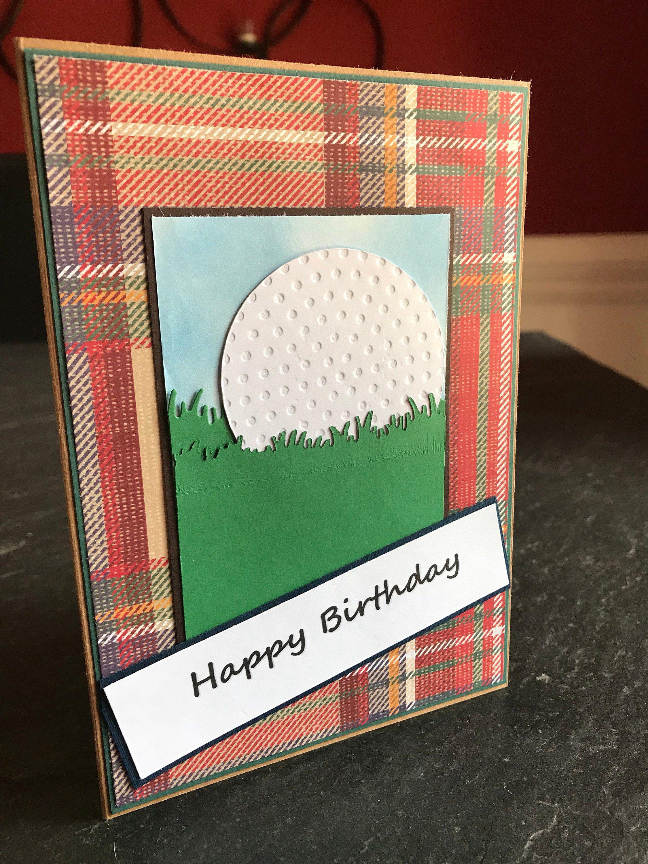 Golf birthday card for him handmade greeting card masculine card