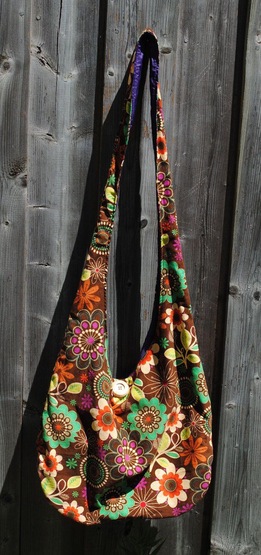 Hippie Style Corduroy Hobo Sling Bag with Retro Flowers. $35.00, via Etsy.
