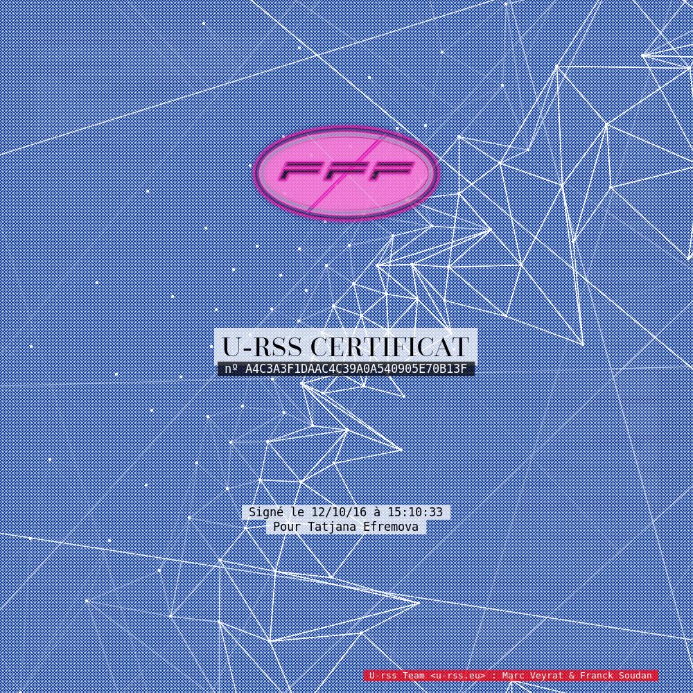 FFF_Certification Tatjana Efremova : 12 octobre 2016.
