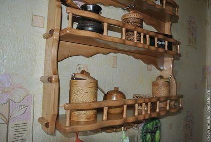 Полки для специй ручной работы. Полка для кухни из дерева ...