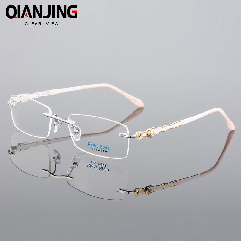 f7cd0ae26e84 QIANJING Floral Pure Titanium Eyeglasses Rimless Optical Frame Prescription  Spectacle Frameless Glasses For Women Eye glasses