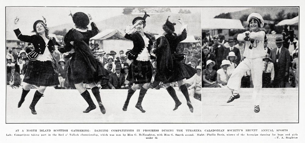 AT A NORTH ISLAND SCOTTISH GATHERING - DANCING COMPETITIONS IN PROGRESS DURING THE TURAKINA CALEDONIAN SOCIETY'S RECENT ANNUAL SPORTS - Auckland News - 7 Feb 1934.
