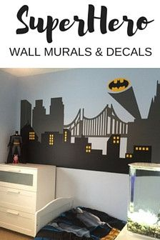 City Skyline Wall Decal For Kids Room Or Nursery Boys Room Decor - Superhero wall decals for kids rooms