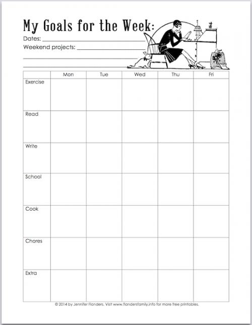 Free printable planning chart that will help break weekly goals down into daily bite sized tasks flandersfamilyfo also rh pinterest
