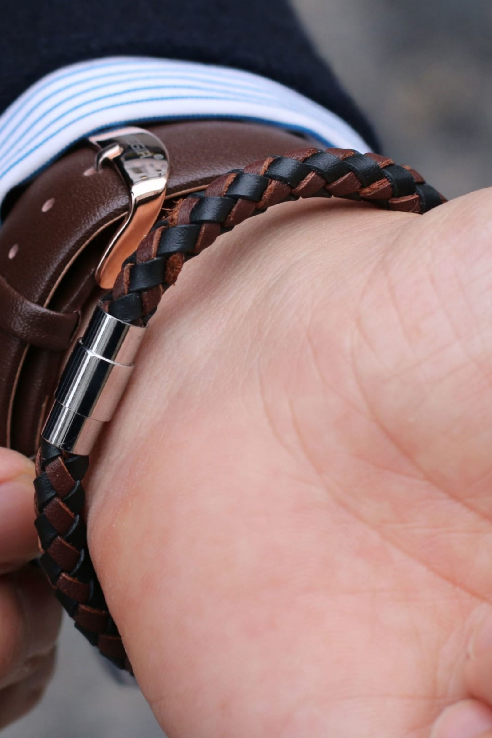 Brown & Black Bolo Braided Leather Bracelet is part of pizza - This handsome black and brown braided bracelet looks cool no matter what you wear it with  Keep it casual or dress it up!   The polished magnetic steel enclosure's the perfect finishing touch
