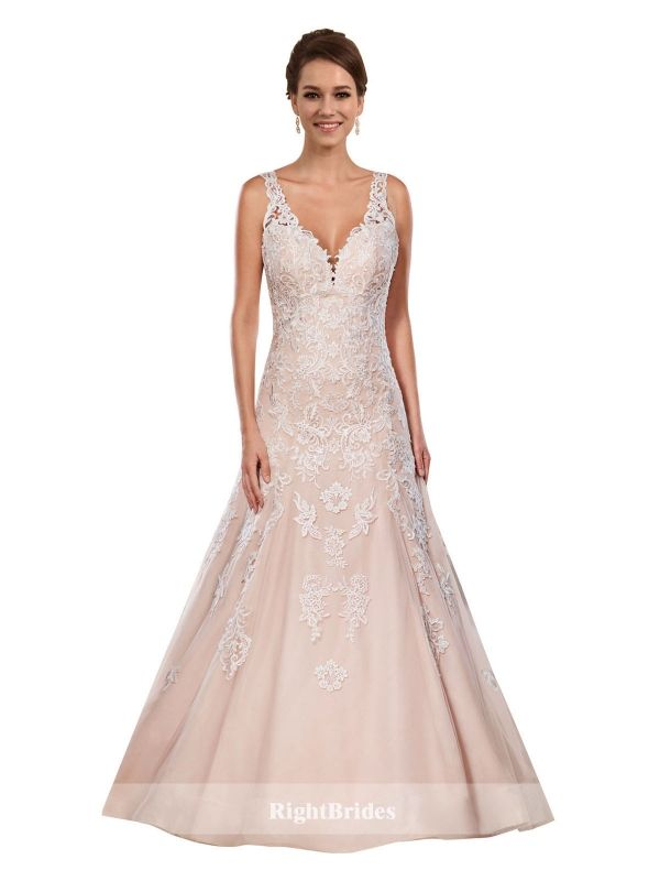 Brides Perth | Shop 2018 A-Line V-Neck Chapel Train Sleeveless Long ...