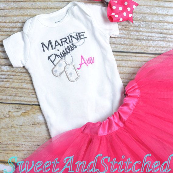 Personalized baby girl MARINE outfit with tutu by SweetAndStitched