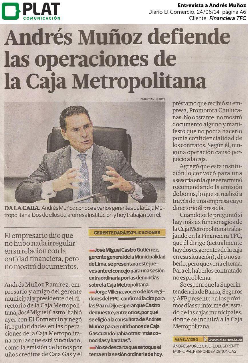 Financiera TFC: Entrevista a Andrés Muñoz en el diario El Comercio de Perú (24/06/14)