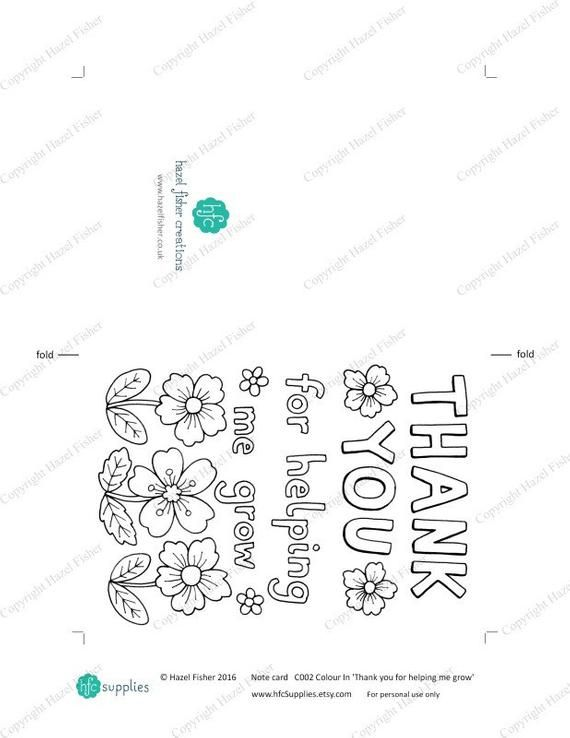 Printable Colour in 'Thank you for helping me grow' Card