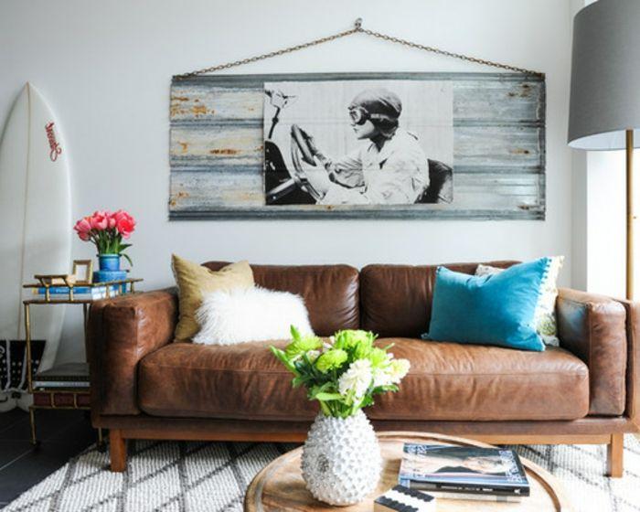 eine tolle Idee, wie Sie eine braune Ledercouch mit Plüschkissen - Wohnzimmer Braun Mint
