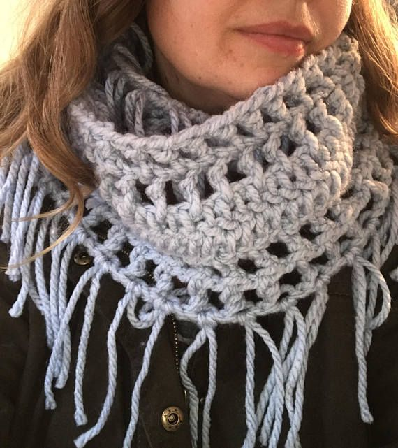 Fringed Winter Cowl, crochet pattern for infinity scarf/cowl